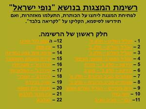 רשימת מצגות - נופי שראל א'