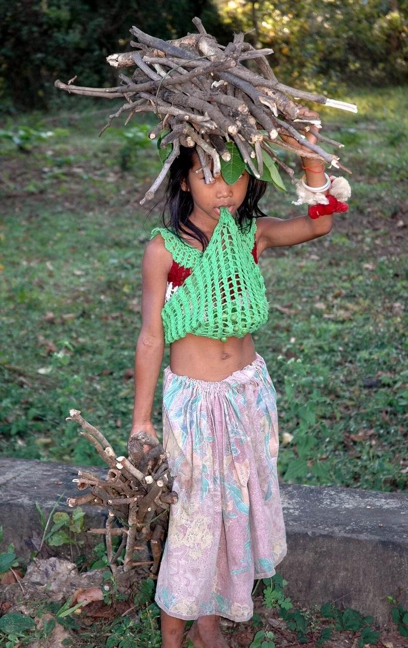 קמבודיה - ילדה באיסוף עצים