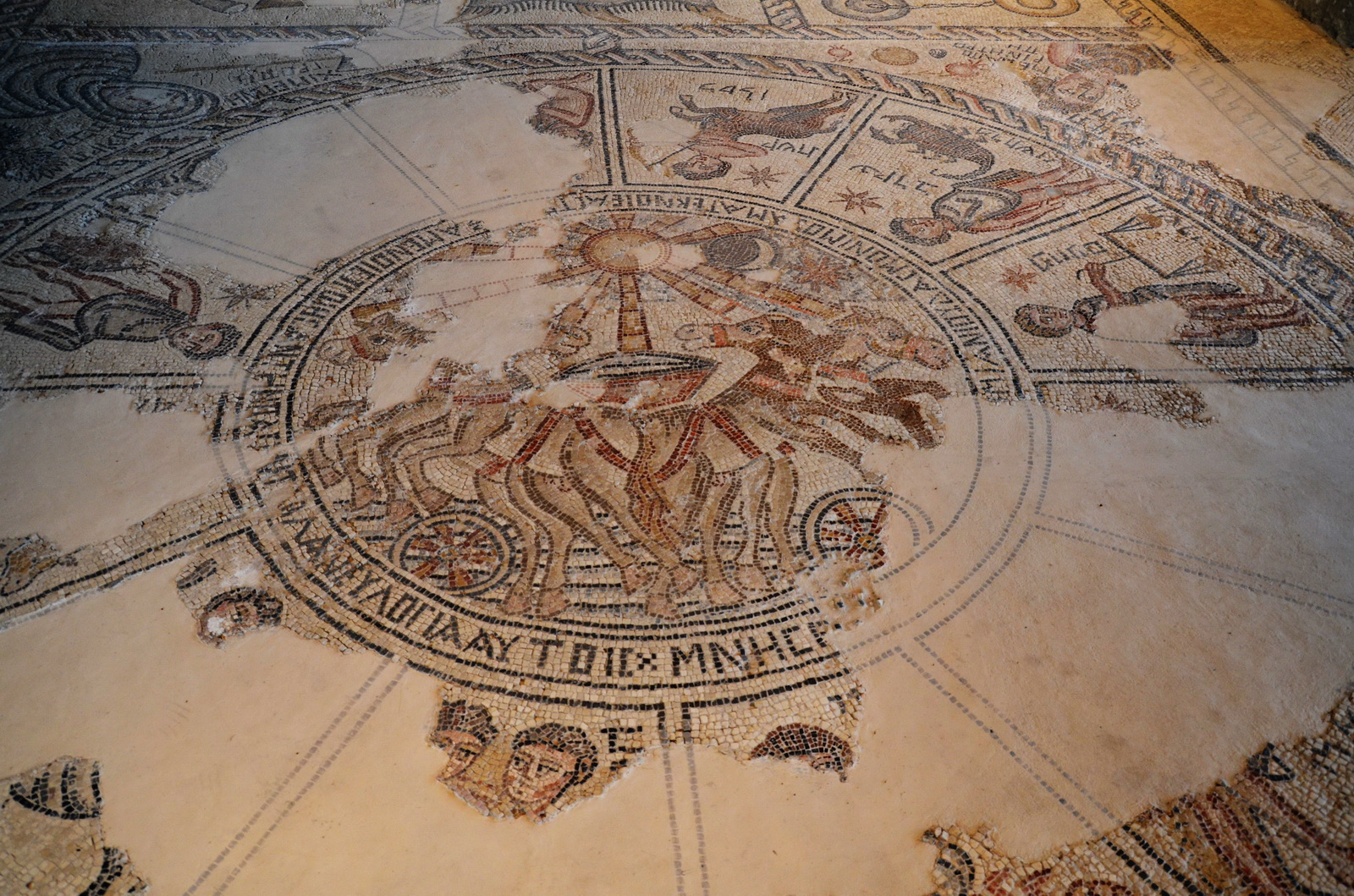 ציפורי - פסיפס בית הכנסת - גלגל המזלות כולו
