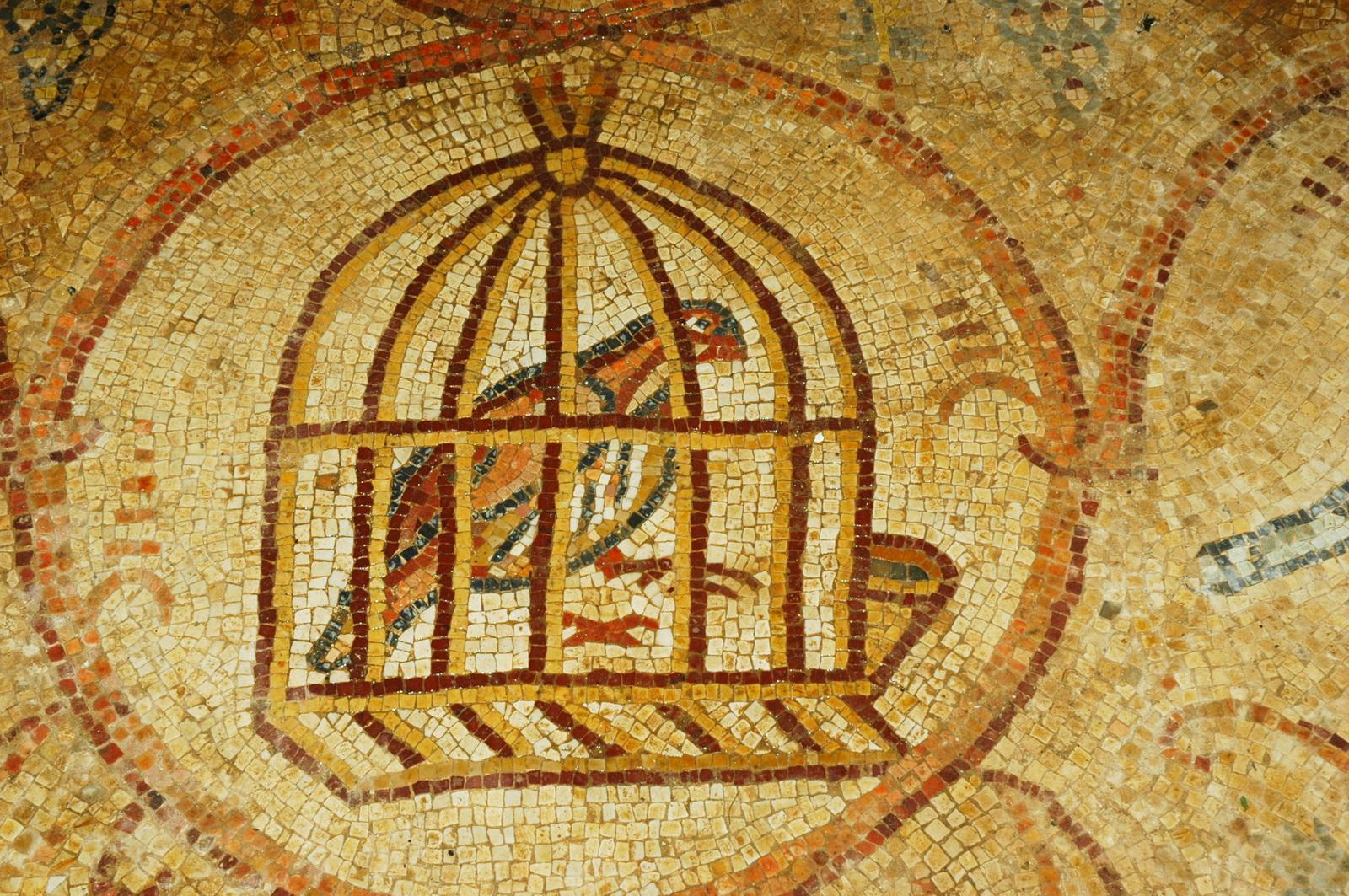 פסיפס ב'כנ מעון - כלוב עם ציפור (יונה)